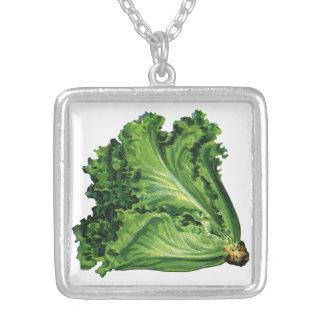 Vintage Foods, Green Leaf Lettuce Vegetables Silver Plated Necklace