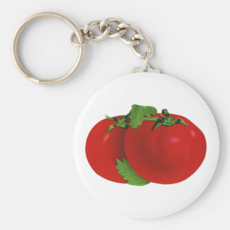 Vintage Foods, Vegetables, Organic Red Ripe Tomato Basic Round Button Key Ring