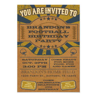 Vintage Football Birthday Party Invitation Gold