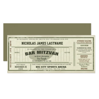 Vintage Football Pass Bar Mitzvah 10 Cm X 24 Cm Invitation Card