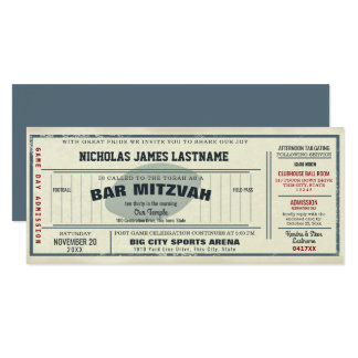 Vintage Football Pass Bar Mitzvah Card