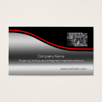 Vintage Fordson Tractor, red swoosh, metallic-look Business Card