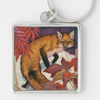 Vintage Forest Creatures Red Fox Wild Animal Silver-Colored Square Key Ring