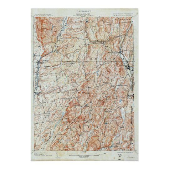 Vintage Fort Ann New York Topographical Map Poster