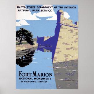 Vintage Fort Marion National Monument St Augustine Poster