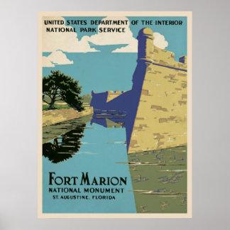 Vintage Fort Marion Travel Poster