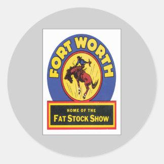Vintage Fort Worth ,Texas Round Sticker
