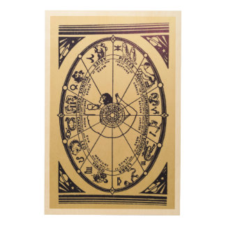 Vintage Fortune Teller Design Wood Print