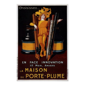 Vintage Fountain Pen Advertisement Poster