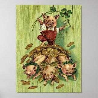 Vintage Four Leaf Clover Pig Gold St Patrick's Day Poster