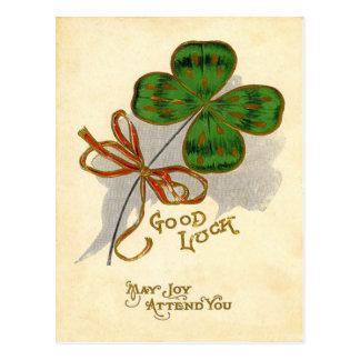 Vintage Four Leaf Clover St Patrick's Day Card Postcard