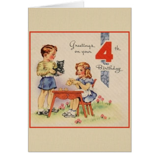 Vintage Fourth Birthday Greeting Card