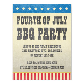 Vintage Fourth of July American BBQ Party 11 Cm X 14 Cm Invitation Card