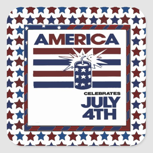 Vintage Fourth Of July Square Sticker