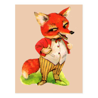 Vintage Fox Cartoon Clever Postcard