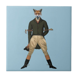 Vintage fox Hunting Small Square Tile