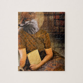 Vintage Fox Lady Face Animal Jigsaw Puzzle