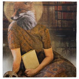 Vintage Fox Lady Face Animal Napkin
