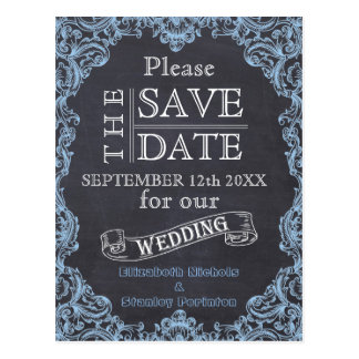 Vintage frame and chalkboard wedding Save the Date Postcard
