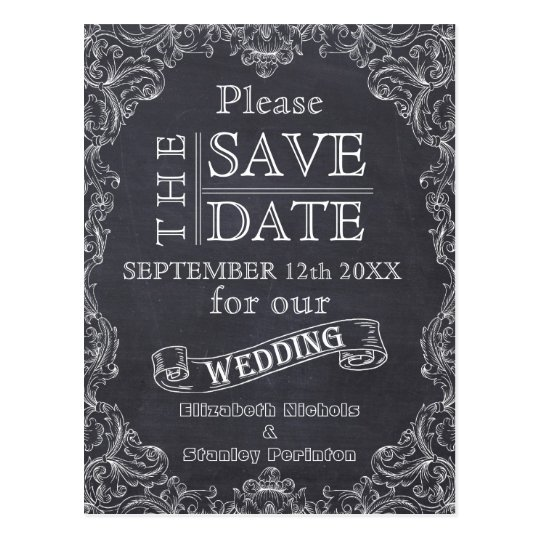 Vintage frame and chalkboard wedding Save the Date Postcard
