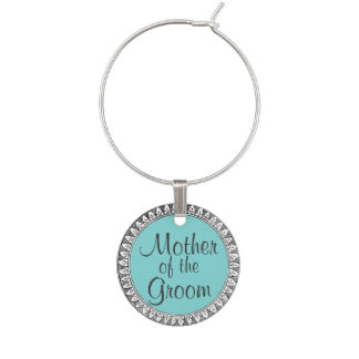 Vintage Frame Aqua Mother of Groom Wedding Charm Wine Glass Charms