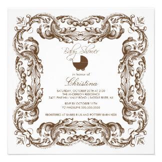 Vintage Frame Brown & White Baby Shower Invitation