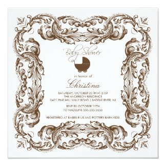 "Vintage Frame Brown & White Baby Shower Invitation 5.25"" Square Invitation Card"