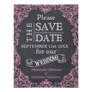 Vintage frame chalkboard wedding Save the Date Personalized Invitations