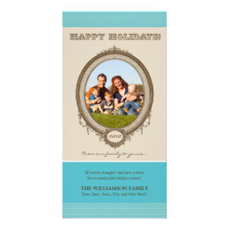 Vintage Frame Happy Holidays Card (aqua/taupe) Customised Photo Card