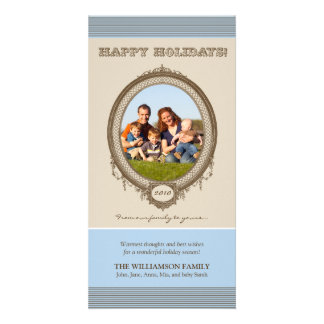 Vintage Frame Happy Holidays Card (blue/taupe) Photo Greeting Card