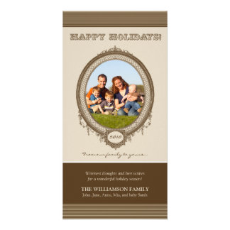 Vintage Frame Happy Holidays Card (brown/taupe) Photo Cards