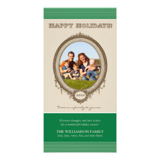 Vintage Frame Happy Holidays Card (green/taupe) Photo Card Template