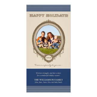 Vintage Frame Happy Holidays Card (navy/taupe) Customised Photo Card