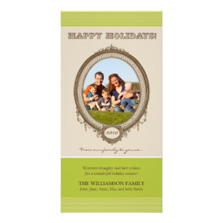 Vintage Frame Happy Holidays Card (olive/taupe) Picture Card