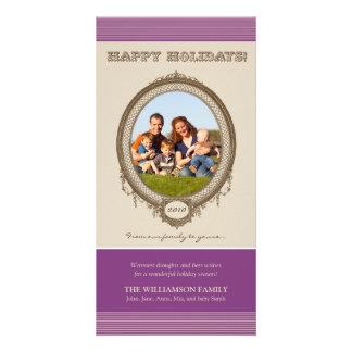 Vintage Frame Happy Holidays Card (purple/taupe) Customized Photo Card