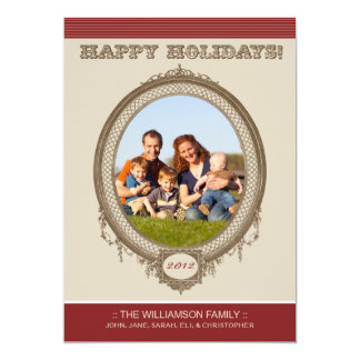Vintage Frame Happy Holidays Card (red/taupe) 13 Cm X 18 Cm Invitation Card