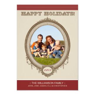 Vintage Frame Happy Holidays Card (red/taupe) Custom Invites