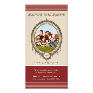 Vintage Frame Happy Holidays Card (red/taupe) Photo Card