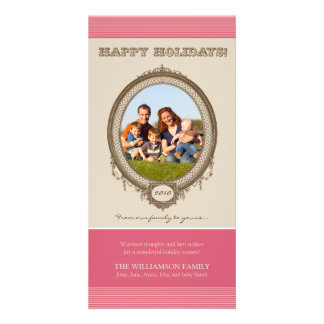 Vintage Frame Happy Holidays Card (rose/taupe) Photo Greeting Card