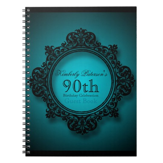Vintage Frame in Blue - 90th Birthday Guest Book