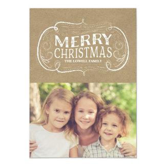 Vintage Frame Kraft Christmas Photo Card 13 Cm X 18 Cm Invitation Card