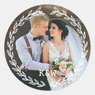 Vintage Frame Monogrammed Wedding Photo Classic Round Sticker