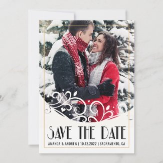 Vintage Frame Photo Wedding Save The Date