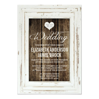 Vintage Frame Rustic Wood Wedding Invitation