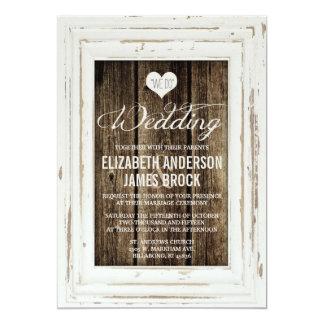 Vintage Frame Rustic Wood Wedding Invitation