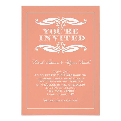 Vintage Frame Swirl Peach Wedding Invitation