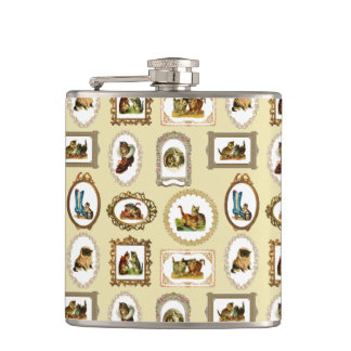 Vintage Framed Cats Hip Flask