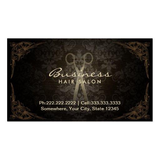 Vintage Framed Damask Hair Salon Appointment Business Card Template
