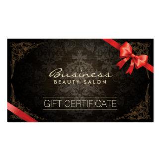 Vintage Framed Damask Red Ribbon Gift Certificates Pack Of Standard Business Cards
