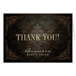 Vintage Framed Damask Salon Business Thank You Note Card